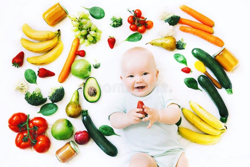 Nutrizione sana del bambino del bambino, fondo dell'alimento, vista superiore immagini stock