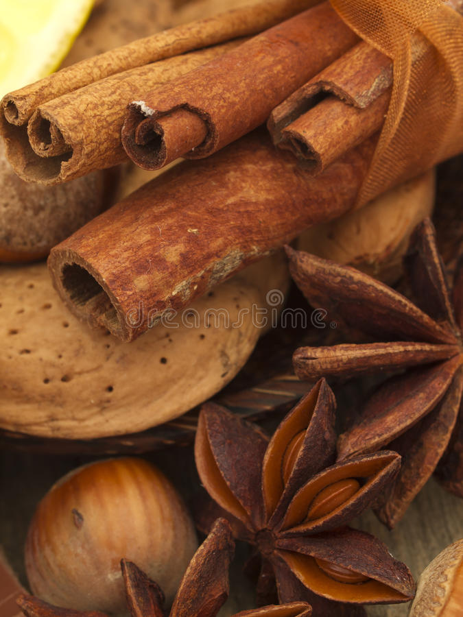 Nuts With Anise Stock Photo
