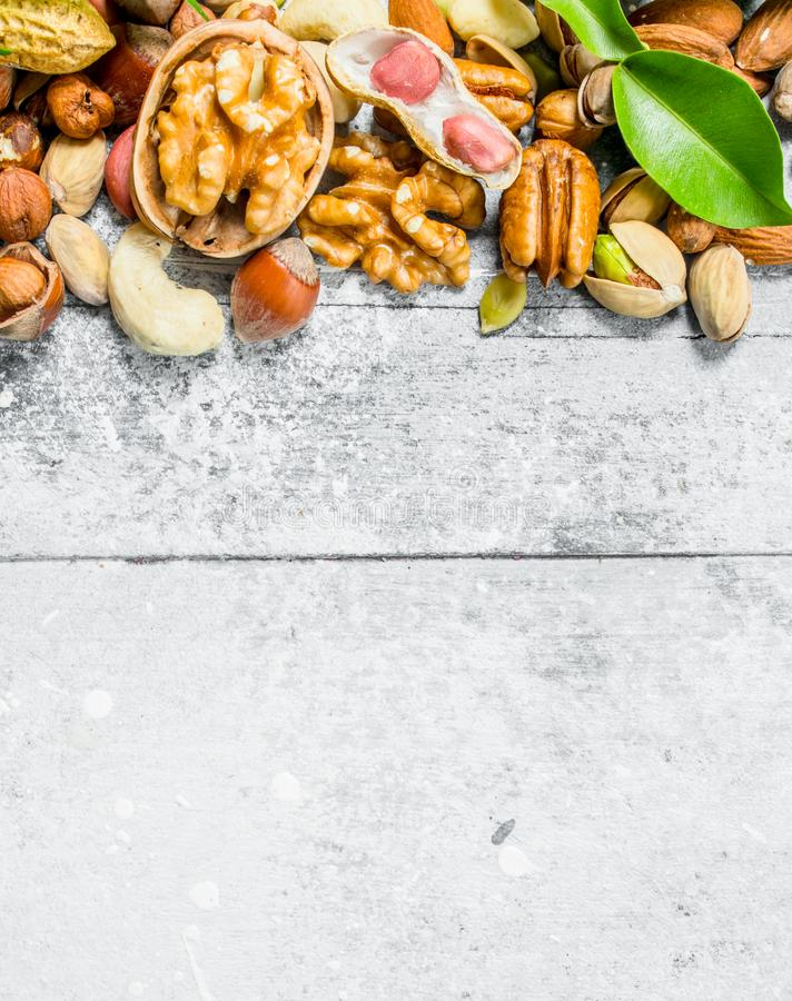Nuts background.Assortment of different types of nuts with green leaves stock image