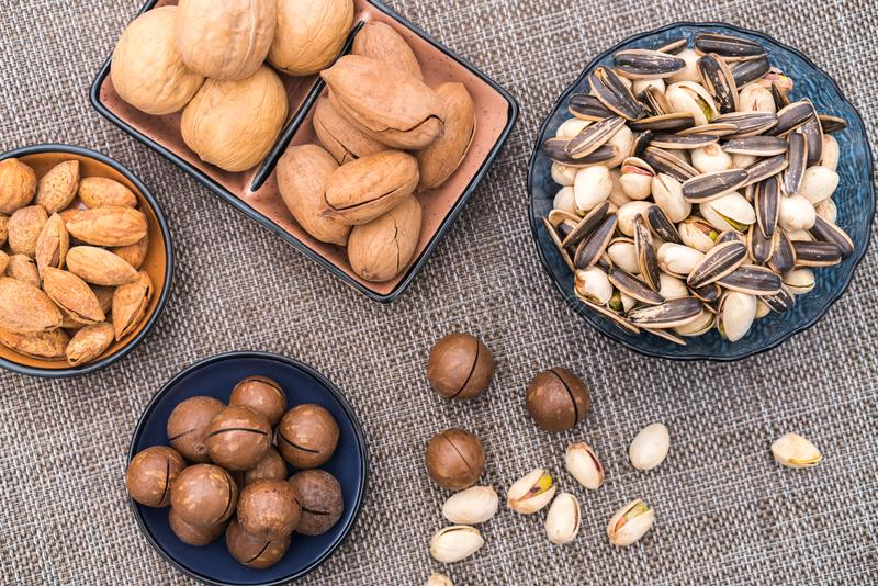 Nuts in the Background of Red Couplet in Spring Festival stock image