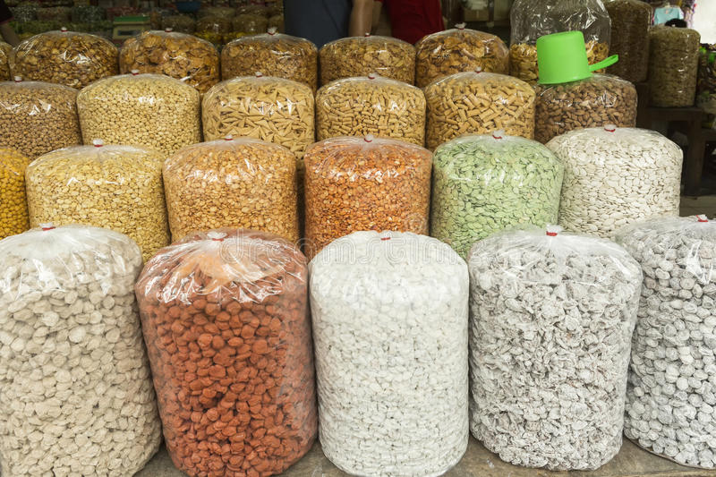 Nuts in bags on the market in Old Jakarta royalty free stock images
