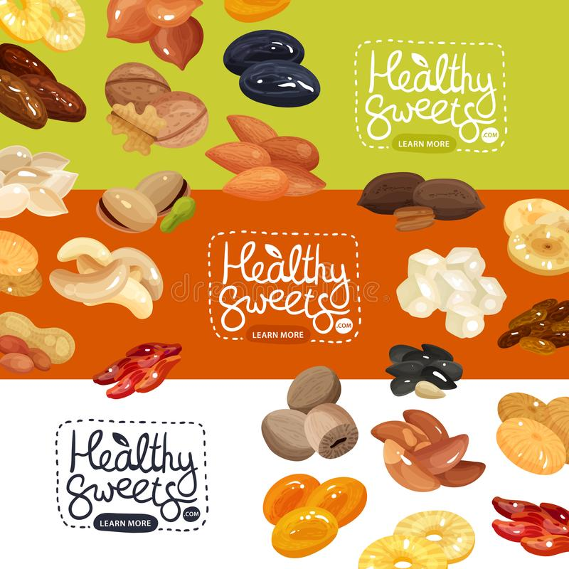 Nuts Banners Set. Nuts and dried fruits horizontal banners set with peanut apricot prune pineapple cashew hazelnut flat isolated vector illustration vector illustration