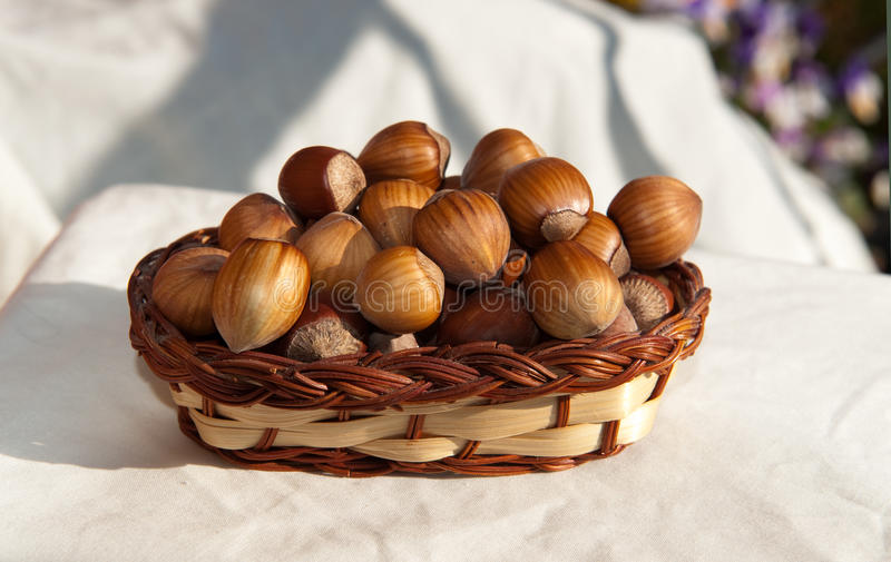 Nuts in basket stock photos