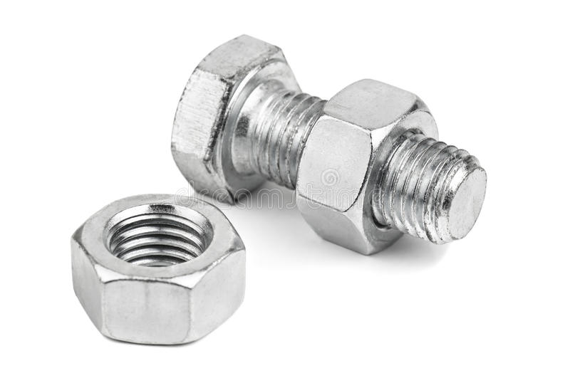 Nuts and bolt. On white stock image