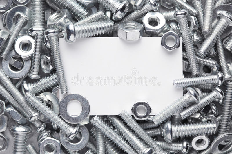 Nuts and bolts frame stock photos