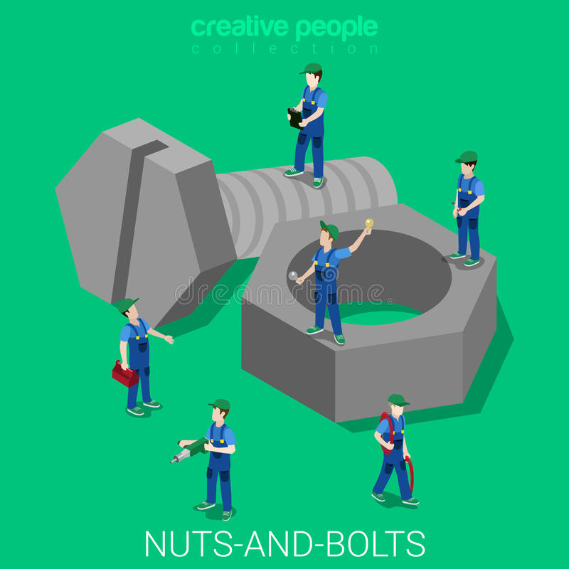 Nuts-and-bolts servicemen in uniforms flat 3d isometric vector royalty free illustration