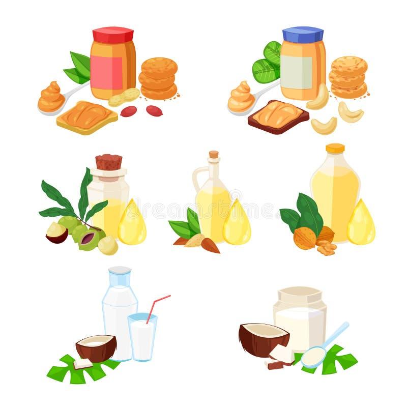 Nuts Butter, ätherisches Öl und andere Nahrungsmittelprodukte Vector eingestellte Karikaturillustration, -ikonen und -Gestaltungs vektor abbildung