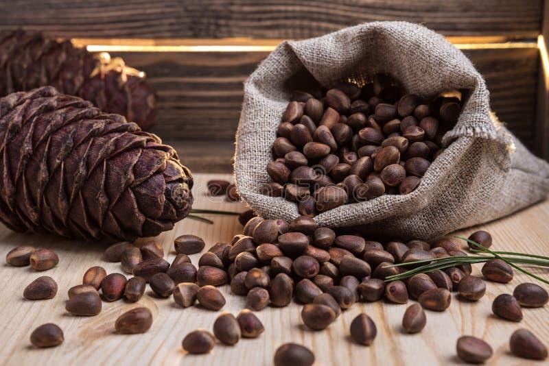 Nuts and cedar cones. royalty free stock photo