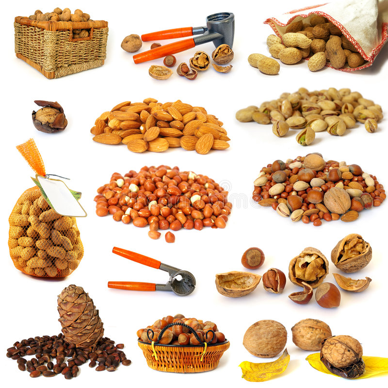 Free Nuts Collection On White Royalty Free Stock Images - 7618029