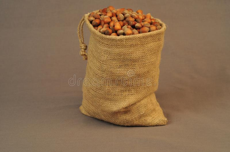 Nuts, insulated bag on a dark background stock photography