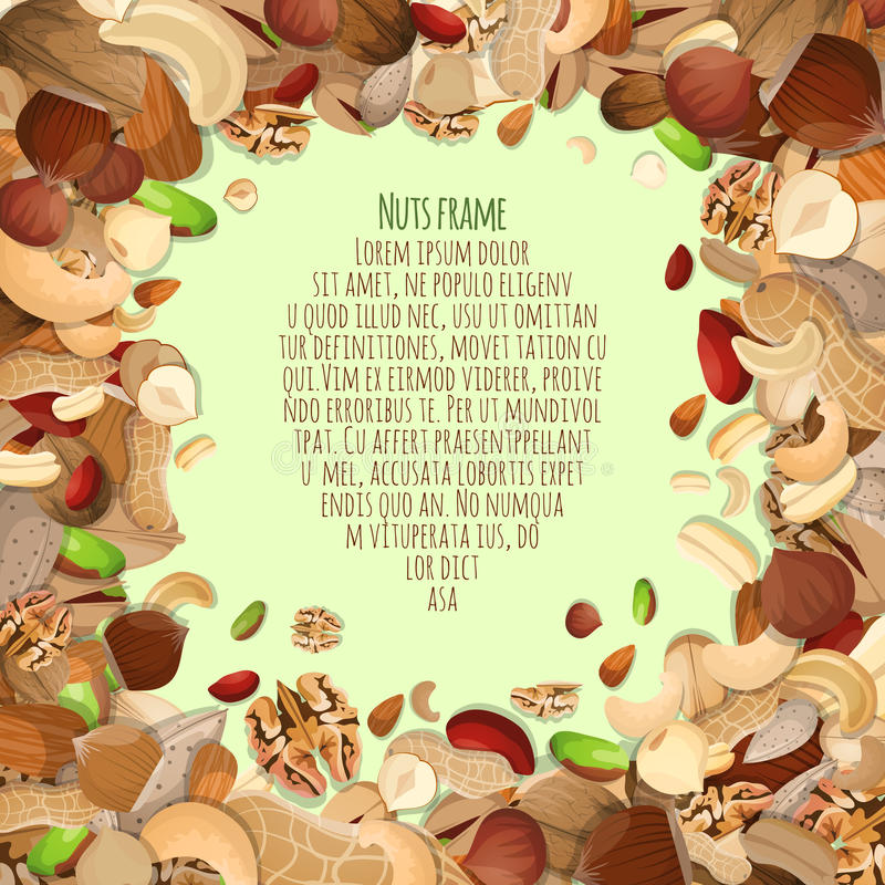 Nuts decorative frame. Nuts and seeds mix food decorative card frame vector illustration royalty free illustration
