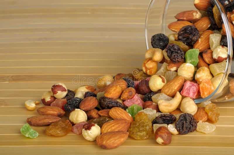 Nuts and dried fruit stock images