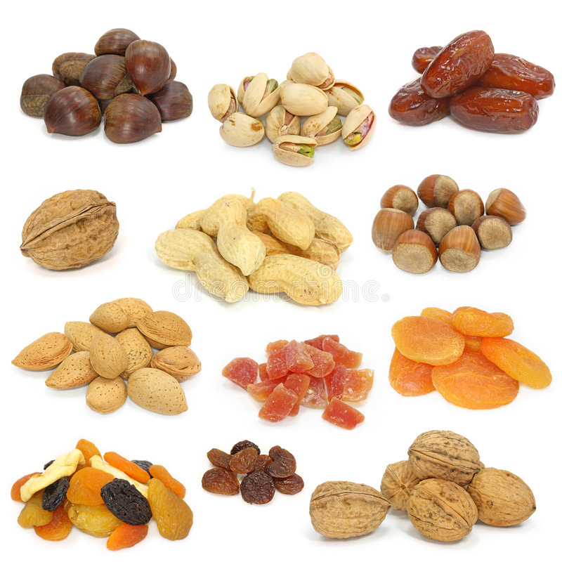 Nuts and dried fruits collection stock photography