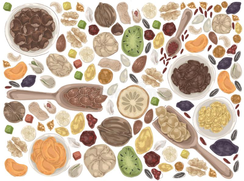 Nuts and dried fruits doodle set. Vector illustration design royalty free illustration