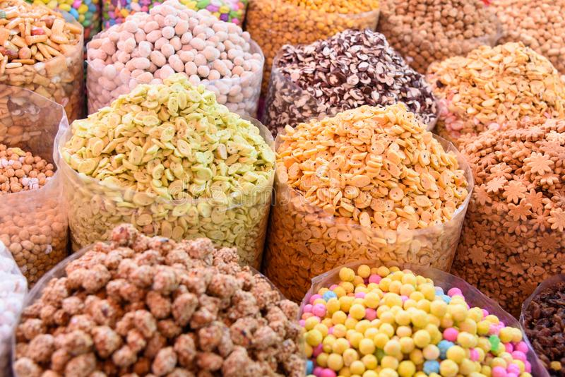 Nuts and dried fruits in large bags on market. Morocco stock photos