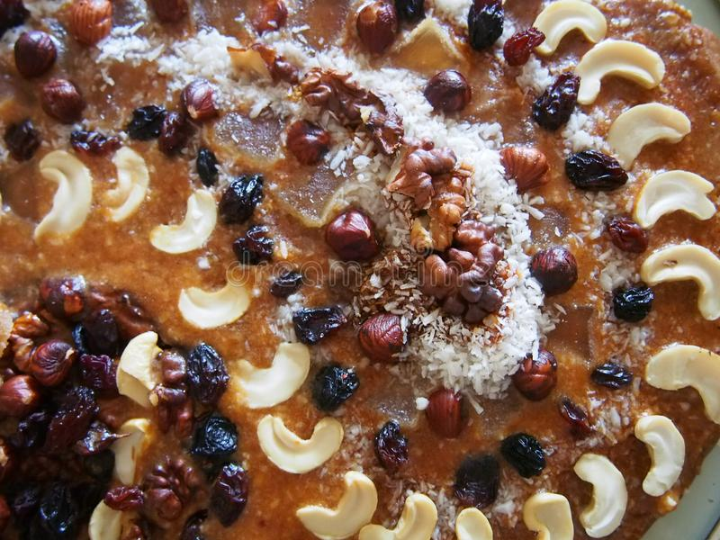 Nuts and dried fruits Polish Easter Cake stock image