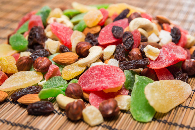 Nuts and dried fruits stock images