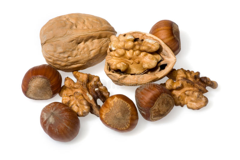 Nuts isolated on white background. stock photos