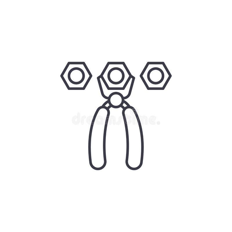 Nuts lineares Ikonenkonzept der Zangen Nuts Linie Vektorzeichen, Symbol, Illustration der Zangen stock abbildung