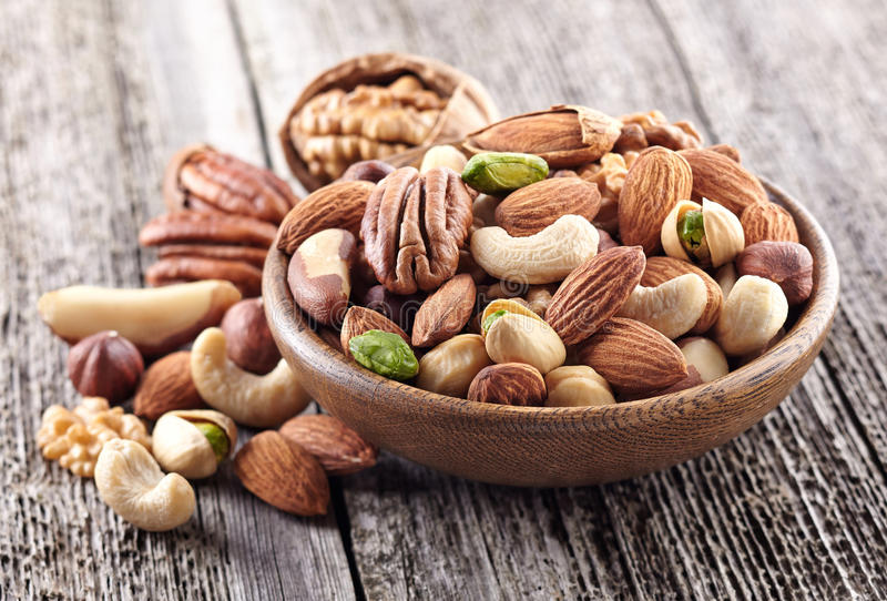 Nuts mix. In a wooden plate