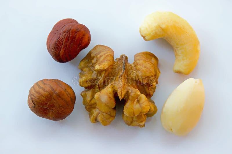 Nuts mixture hazelnut almonds walnuts cashew stock images