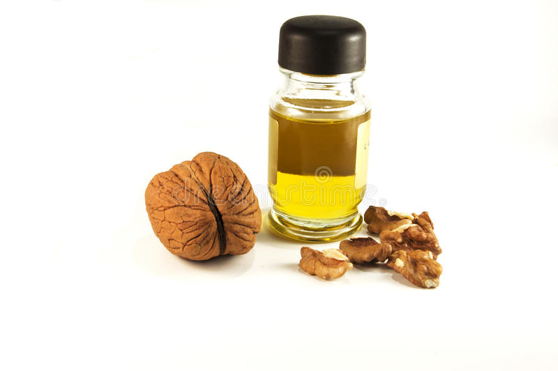 Nuts with a nut-oil stock photography