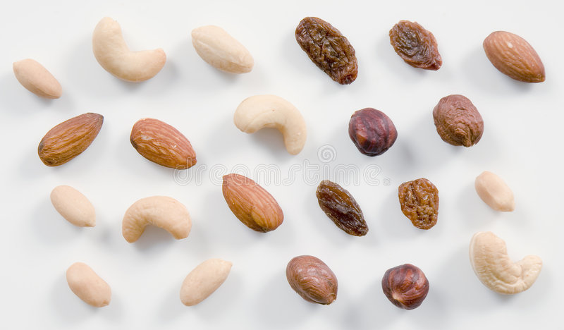 Nuts and raisins stock image