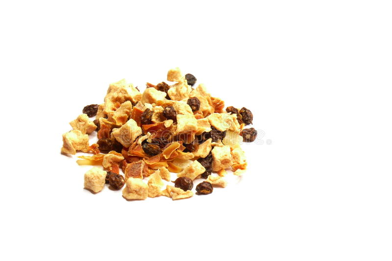 Nuts and raisins. Mixture of nuts and dried fruits stock images