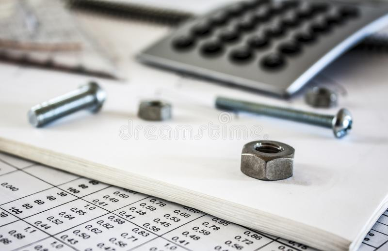 Download Nuts Screws  And Calculator Stock Illustration - Illustration of construction, equipment: 25895524