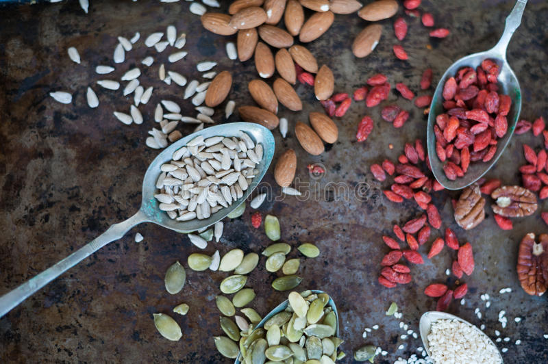 Nuts and seeds. Close up of nuts and seeds royalty free stock photos
