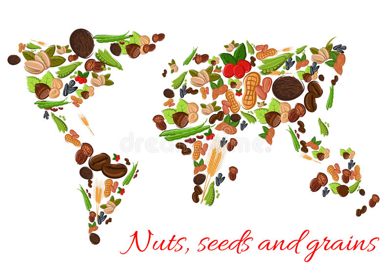 Nuts seeds and grains vector world map stock vector illustration download nuts seeds and grains vector world map stock vector illustration of coconut gumiabroncs Images