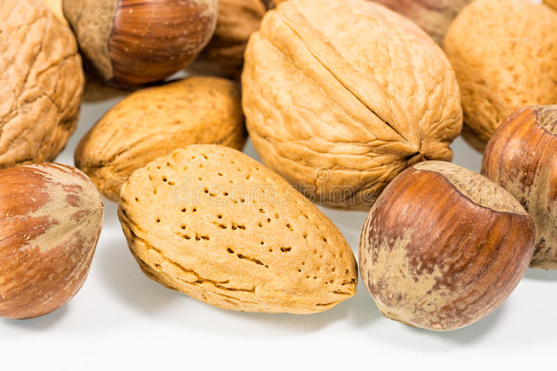 Nuts. Some nuts with white background royalty free stock image
