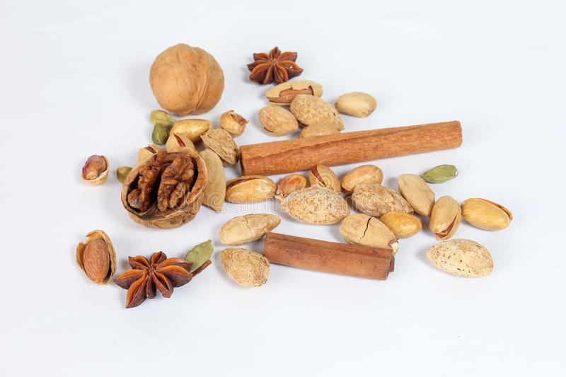 Nuts spice mix stock photography