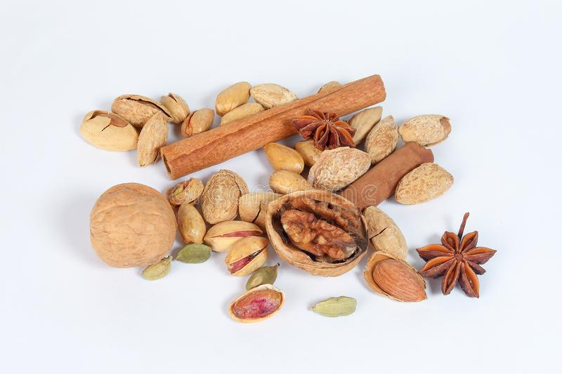 Nuts spice mix stock photos