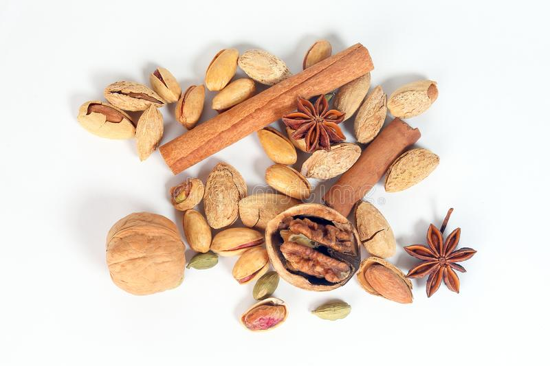 Nuts spice mix stock images