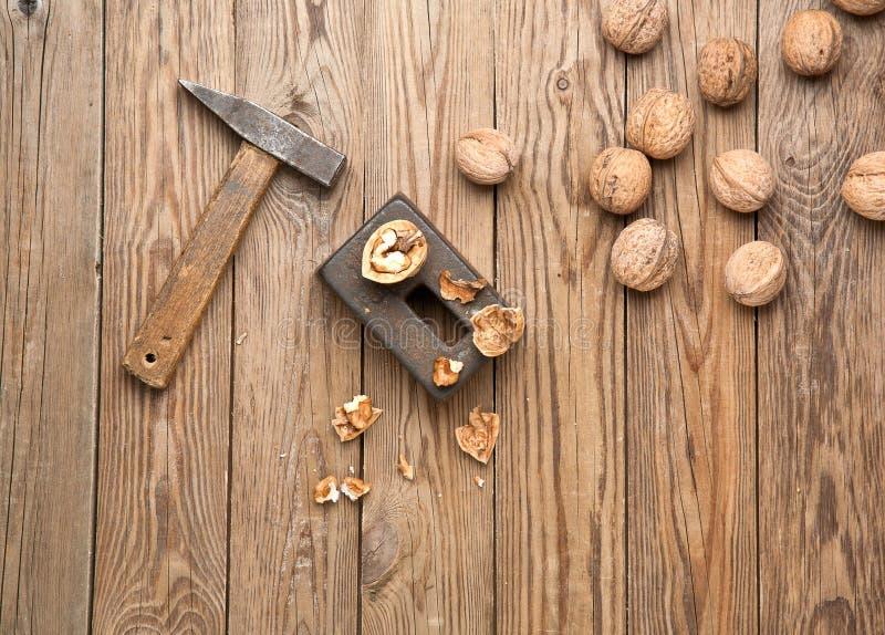 Nuts split hammer royalty free stock photo