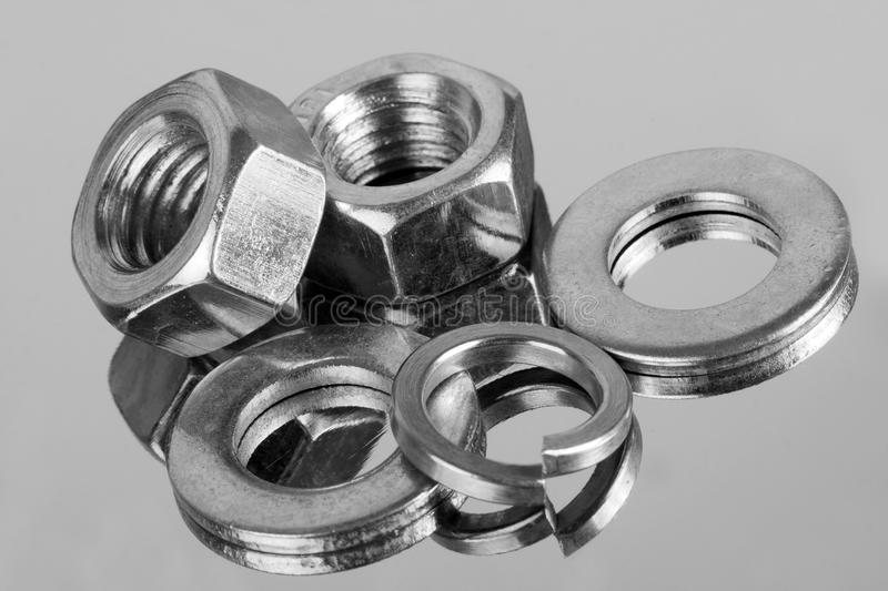 Nuts and washers royalty free stock photo