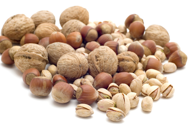 Nuts on white royalty free stock photography