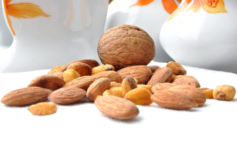 Nuts on white background stock photos