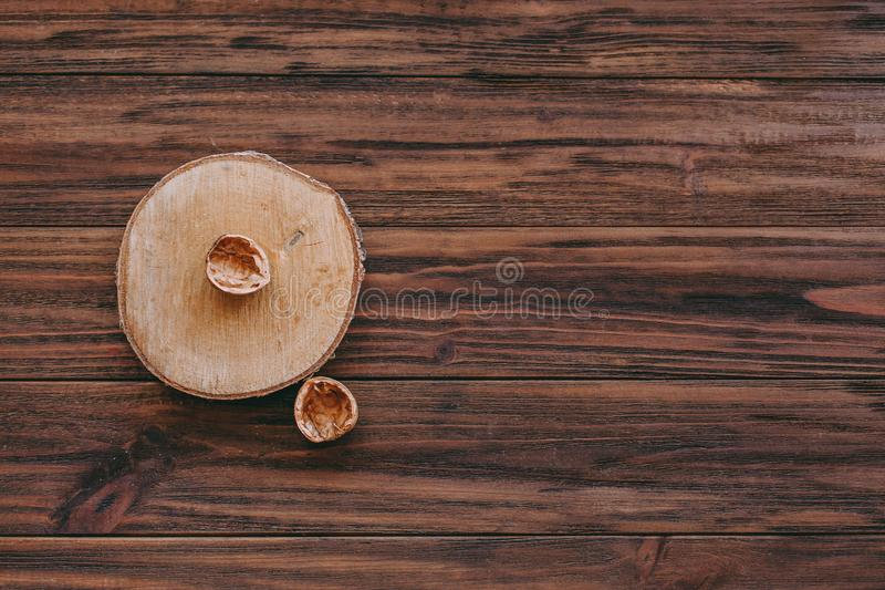 shell of nut on a wooden background stock photos