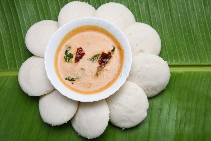 Nutteloos of populair het Zuiden Indisch ontbijt van Idli met kokosnotenchutney royalty-vrije stock afbeelding