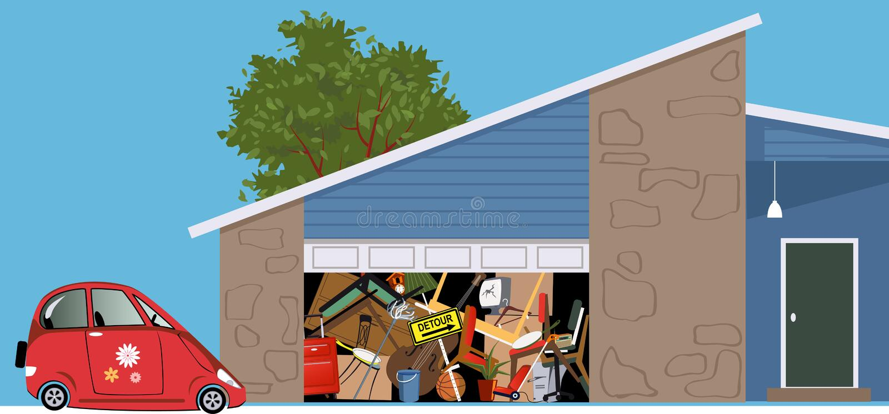 Nutteloze die garage met rommel wordt gevuld stock illustratie