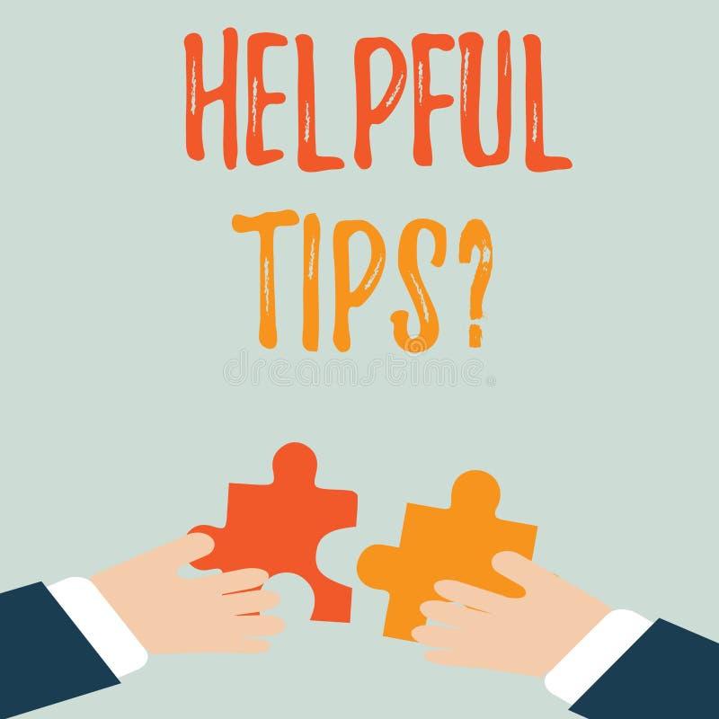 Nuttige de Uiteindenvraag van de handschrifttekst Concept geheime informatie betekenen of advies die dat wordt gegeven om nuttige stock illustratie