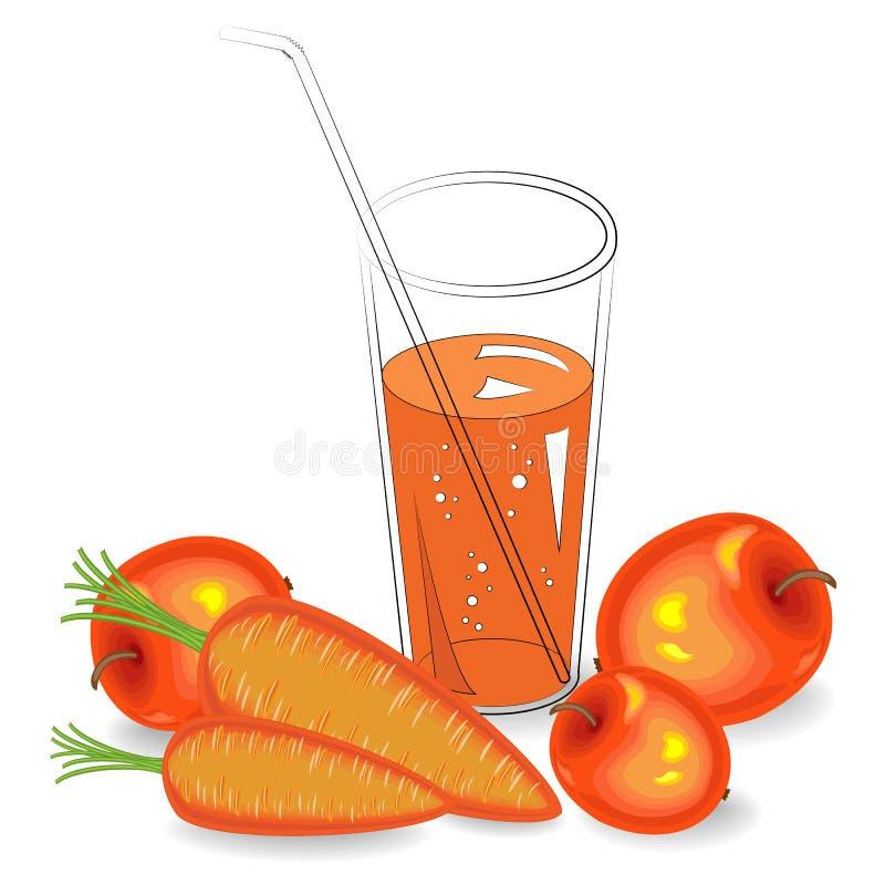 Nuttige geneeskrachtige en smakelijke drank In een glas van natuurlijke groentesap rijpe wortelen en fruitappel Vector illustrati royalty-vrije illustratie