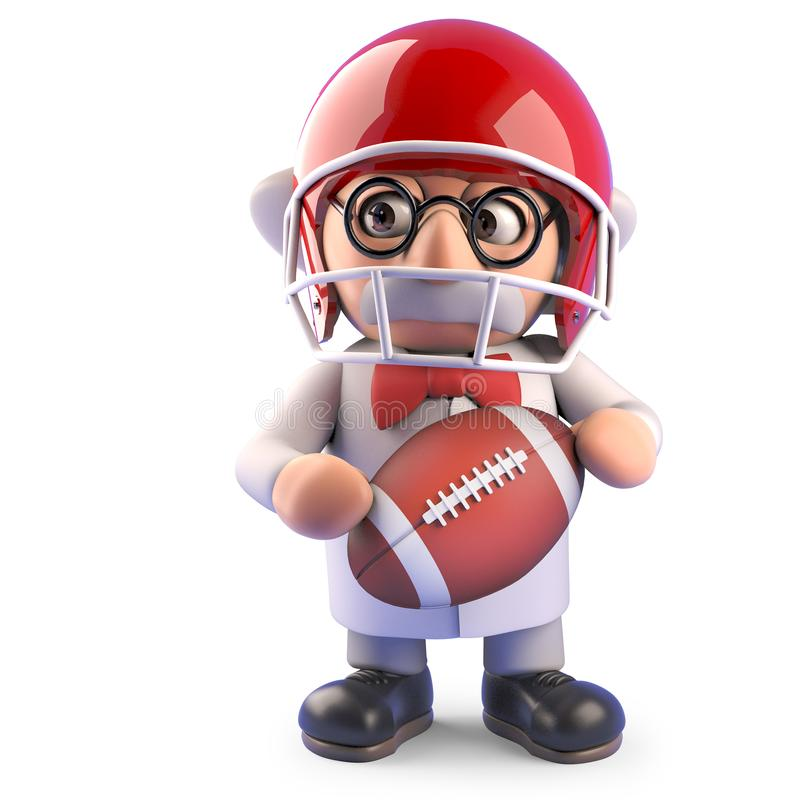Nutty mad scientist professor character playing American football, 3d illustration. Render vector illustration