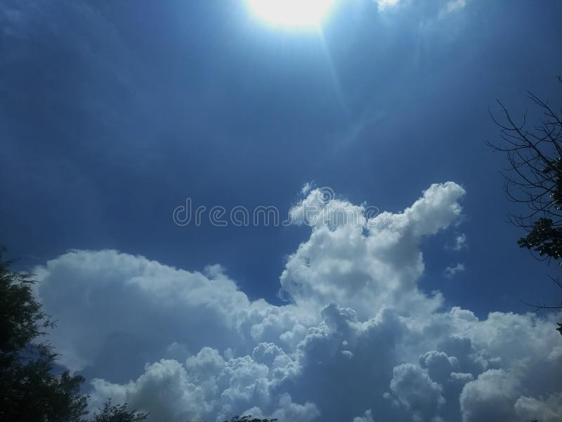 Nuture beautiful blue sky and the sun with white cloud background. Nuture beautiful blue sky and the sun with white cloud background, Beautiful landscape, Copy royalty free stock images