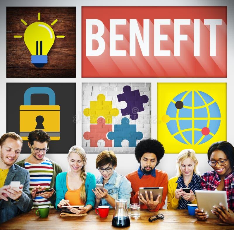 Nutzen-Einkommens-Gewinn-Vorteils-Wohlfahrts-Konzept stockfotos