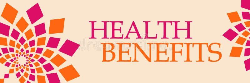 Nutzens- für die Gesundheitorangen-mit Blumenhorizontales stock abbildung