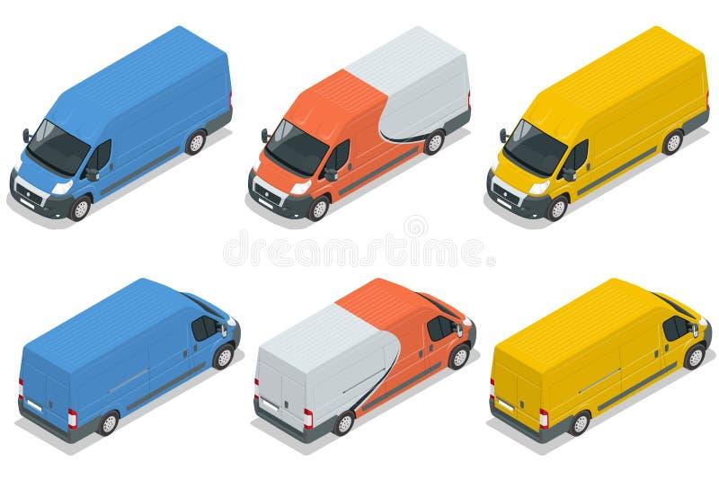 Nutzfahrzeug, Packwagen für den Wagen der isometrischen Illustration des flachen Vektors 3d der Fracht lokalisiert auf weißem Hin stock abbildung