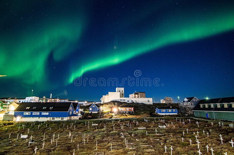 Nuuk City At Night. Aurora, church stock photo